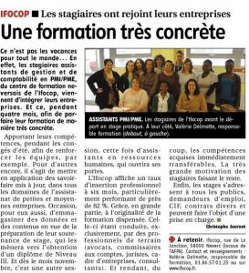 Journal du centre - stagiaires AG PME PMI Nevers - aout 2014