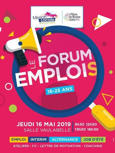 Forum Emplois d'Auxerre se tiendra le jeudi 16 mai 2019 à la salle Vaulabelle d'Auxerre. Emploi, alternance, intérim et job d'été.
