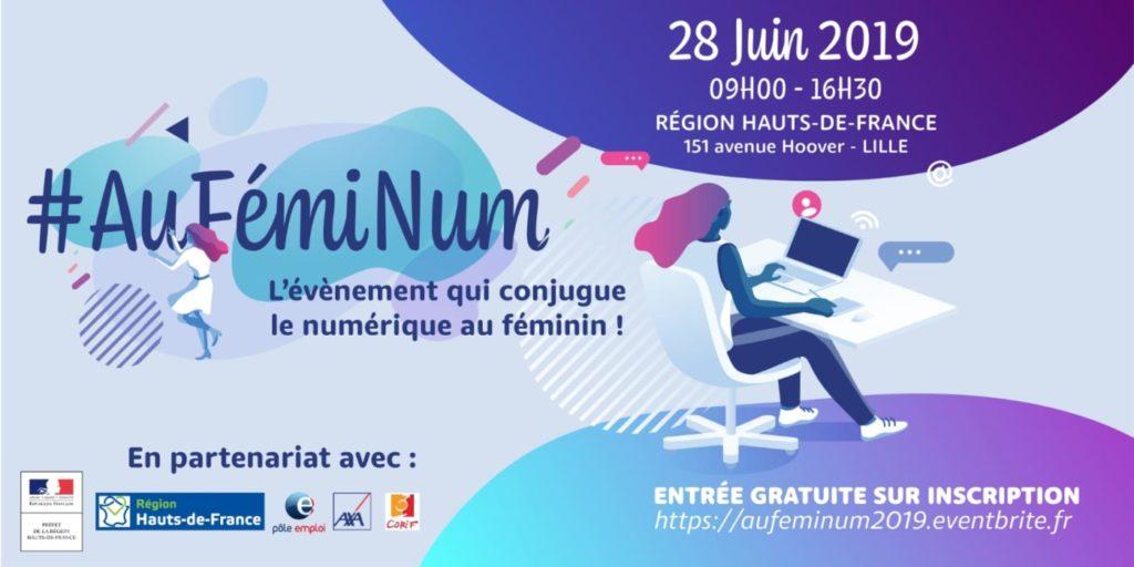 Venez nous rencontrer au salon emploi et formation AuFemiNum pour les métiers du digital, le 28 juin 2019 à Lille